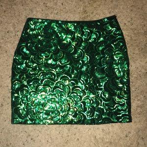 Black velvet and green sequin pencil skirt
